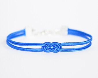 Shiny cobalt blue delicate minimal petite double infinity knot soutache braid rope bracelet