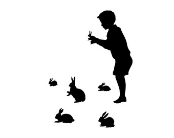 Rabbit Shadow Puppet Silhouette Print Black and White Rabbits Bunny Bunnies Hare Victorian Unusual Nursery