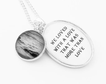Edgar Allen Poe Annabel Lee Nautical Necklace Silver Pendant Beach Ocean Literature Poem Black and White Goth
