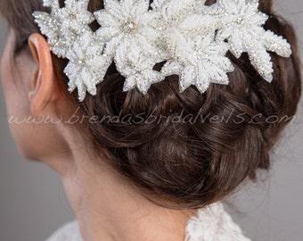 Bridal Hair Clip, Beaded Flower Headpiece, Wedding Hairpiece, Wedding Hair Accessory, Bridal Birdcage Fascinator - Corina
