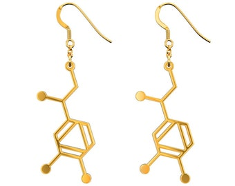 Noradrenaline Molecule Earrings - Gold