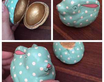 Adorable Easter Box Polka Dot Bunny Egg Mint Green White Dots Painted Easter Bunny, Gold Inside Easter Egg Shaped Trinket Box Easter Gift