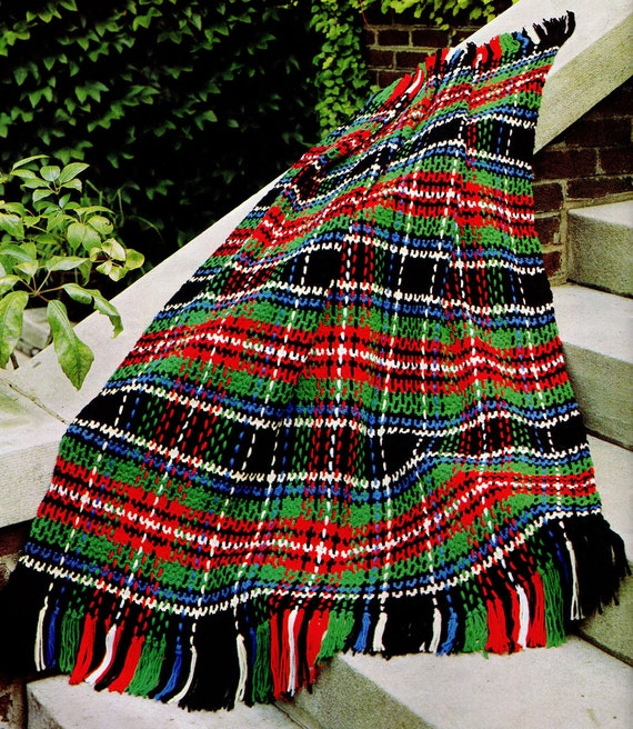 Crochet Pattern Plaid Afghan : Afghan Crochet Pattern Woven Plaid Crochet Afghan Pattern