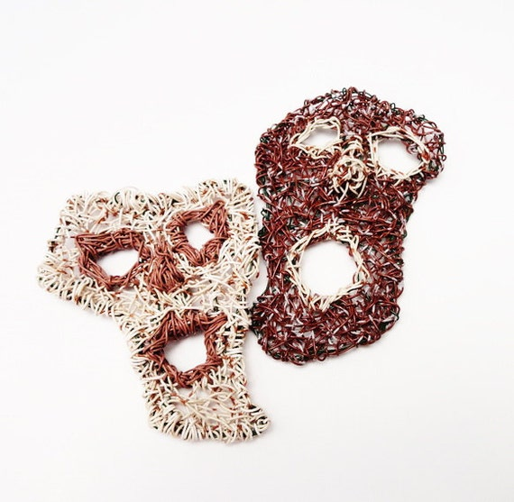 Eco Friendly Recycled Wire Wall Hangings, Set of 2 Masks, Upcycled, Thespian, Woven Wall Hanging