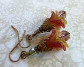 Nature Jewelry Flower Earrings with Wine and Olive Calla Lilies, Crystal and Antique Copper