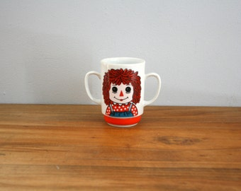vintage 70s Raggedy Ann & Andy Double Handled Childs Mug Made in Japan
