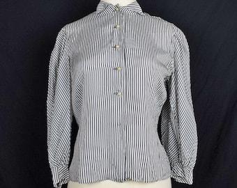 Vintage Gray White Stripe Top Blouse Modest Misses S 1950s Katy Klix