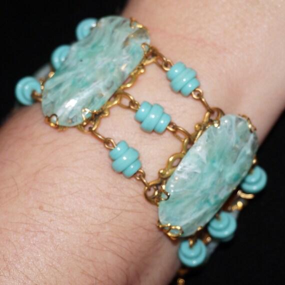 EXCEPTIONAL Chunky Vintage FREIRICH Art Glass RUNWAY Bracelet Ocean Aqua Blue Green