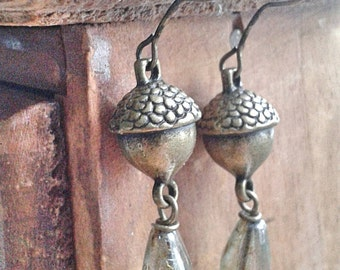 Under the Oak Trees - woodland acorn nature earrings