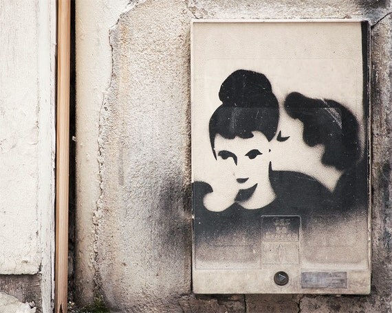 Paris Photography Graffiti Kiss, Paris Print, Large Art Print Fine Art Photography