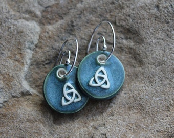 Teal Green Trinity Earrings