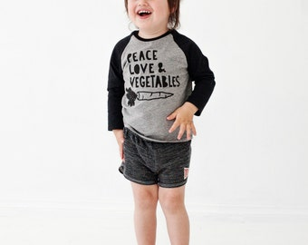 Peace Love and Vegetables kids raglan