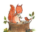 Nursery Art -- Squirrel Tea -- Art Print