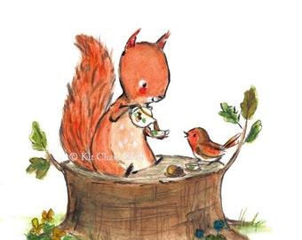 Nursery Art -- Squirrel Tea -- Art Print