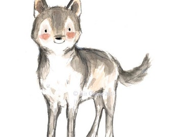 "Children's Art -- ""WOLF"" -- Archival Print"