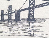 Flour Sack Dish Towel - Bay Bridge in grey ink - San Francisco Bay Area Landmark