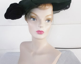 Clearance 1950's Vintage Black Wide Brim Hat with Black Velvet Rose by Juli-Kay Chicago