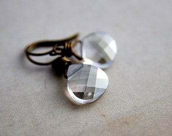 Crystal Earrings, Drop Earrings, Swarovski Crystal, Brass Earrings, small earrings, crystal jewelry