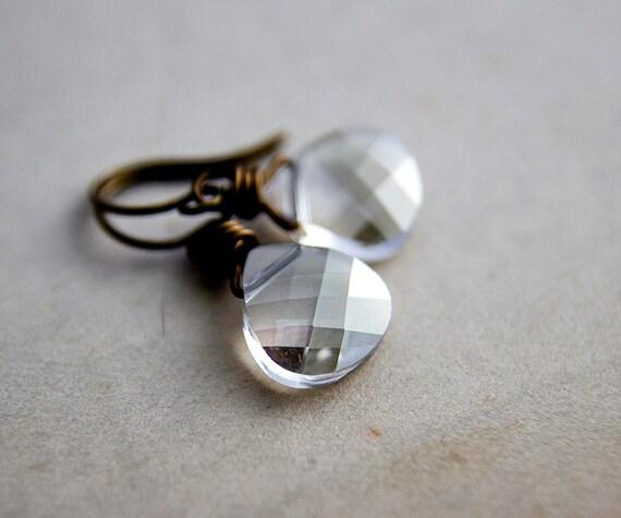 Crystal Earrings, Drop Earrings, Swarovski Crystal, Brass Earrings, small earrings, crystal jewelry