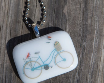 Fused Glass Pendant - Bicycle with Birds - blue