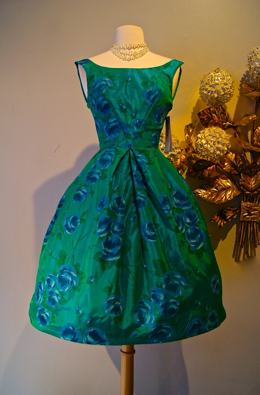 Vintage 50s Prom Dress / 1950's Rose Print Party Dress in