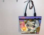Jasmine Becket-Griffith Windswept tote bag, Steampunk Fairy, book tote, large purse, canvas tote, shoulder bag