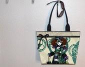 Myka Jelina Temple Steampunk vampire girl tote bag, book tote, large purse, canvas tote, shoulder bag