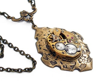 Time Enough - Steampunk Necklace Handmade Jewelry