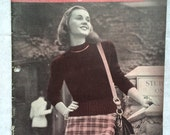 1940s Campus Knits Vintage Knitting Pattern Booklet for College Girl Bear Brand no. 335