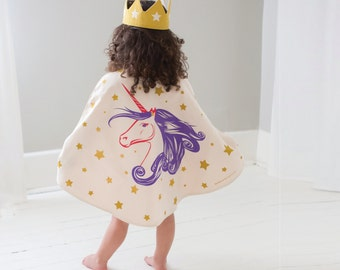 Unicorn Cape & Crown, Unicorn Costume and Gold Crown or Purple Crown