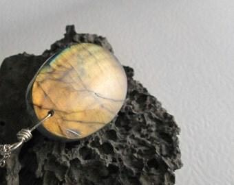 Natural Labradorite Necklace, Orange Stone Jewelry, Oval Rock Pendant