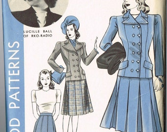 VINTAGE HOLLYWOOD 1940s Size 14 Bust 32 Suit Pattern Lucille Lucy Ball of RKO Radio 494