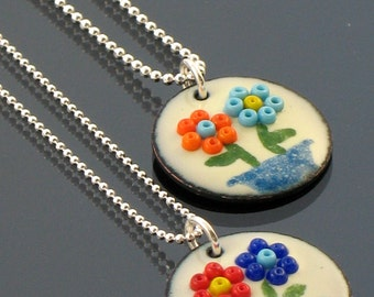 Enamel Pendant Necklace, Nature Series, Enamel on Copper with Glass Beads, Sterling Silver Chain, Handmade by Penny's Treasures - Flower Pot