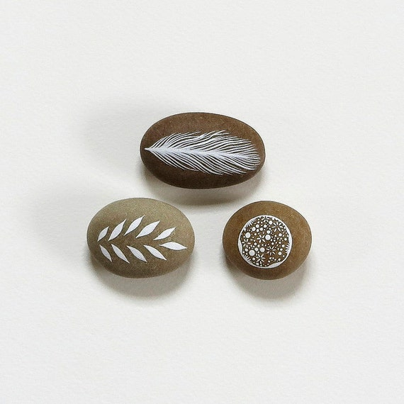 Meditation Collection 4 - Set of 3 Painted Stones - Nature Art, Modern Home, Minimalist - by Natasha Newton
