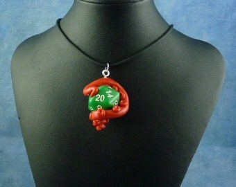 Red and Green Sanity Check Necklace - Tentacle Wrapped D20 Pendant