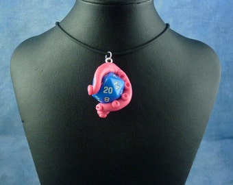 Pink and Blue Sanity Check Necklace - Tentacle Wrapped D20 Pendant