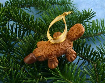 Xmas Platypus Ornament, Handmade Christmas Decoration