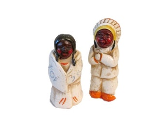 Ceramic chief and squaw salt and pepper shakers - Japan
