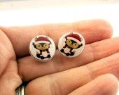 "Christmas Fox Earrings.  Resin Post  Earrings. 1/2"" or 13 mm Round."