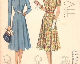 1930s McCall 3344 Misses Flared Skirt DAY DRESS Pattern Womens Vintage Sewing Pattern Size 16 Bust 34 UNCUT