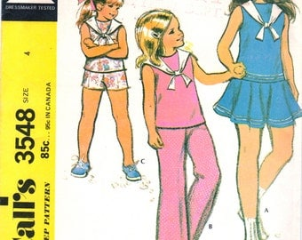 McCalls 3548 1970s Toddlers Drop Waist Nautical Sailor Dress Top Pants Shorts Pattern Girls Vintage Sewing Pattern Size 4 Breast 23 UNCUT
