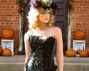 Sexy Fairy Costume Feathered Velvet Corset