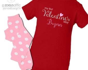 Baby's First Valentine's Day RED long sleeve bodysuit and matching leg warmers set