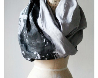 Gray Industrial Printed Long Linen Scarf , Men's Scarves , Women's Edgy Scarves , Fashion Accessories