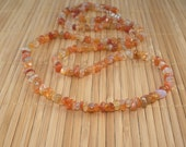 Carnelian Necklace Long Orange Necklace Gemstone Necklace Persimmon Rust Very Long Necklace Natural Agate Necklace Chunky Necklace Multi