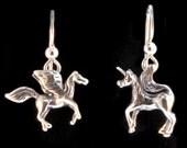 Pegasus Unicorn Earring Set - Unicorn Jewelry - Silver Horse Jewelry - Pegasus Jewelry Unicorn Earrings Pegasus Earrings