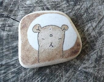 Large Brown Beach Pottery Jizo Bear Bodhisattva Icon - Protection, Calm, Peaceful, Peace, Meditative, Inner Child, Compassion, Healing, Love