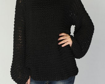 Simple is the best - Hand knitted woman sweater Eco sweater oversized in Black - ready to ship