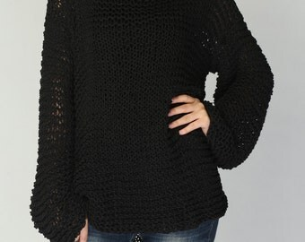 Simple is the best - Hand knitted woman sweater Eco sweater oversized in Black-ready to ship