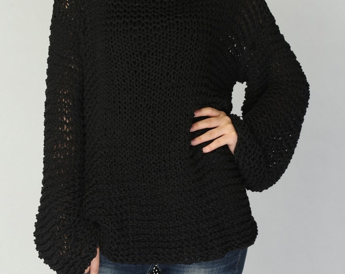 Simple is the best - Hand knit woman sweater Eco sweater oversized Black - ready to ship